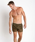 American Jock 70's Retro Featherweight Running Shorts Army, view 1