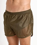 American Jock 70's Retro Featherweight Running Shorts Army, view 3