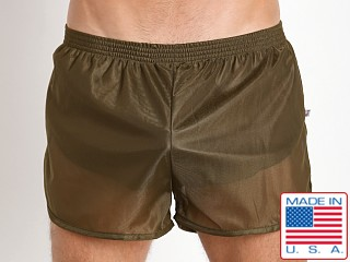 Model in army American Jock 70's Retro Featherweight Running Shorts