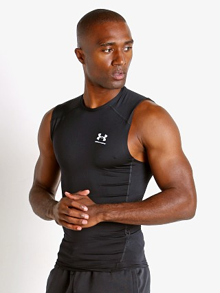Model in black Under Armour HeatGear Compression Muscle Tee