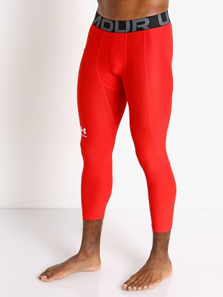 Model in red Under Armour Heatgear 3/4 Compression Legging