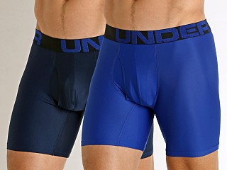 Model in royal Under Armour Tech Mesh Boxerjock 2-Pack