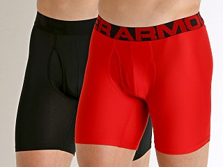 Model in red Under Armour Tech Mesh Boxerjock 2-Pack