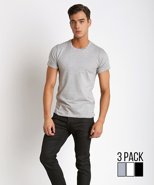 Calvin Klein Cotton Classics Crew Neck Shirt 3-Pack Grey/Wht/Blk