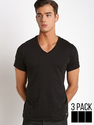 Model in black Calvin Klein Cotton Classics V-Neck Shirt 3-Pack