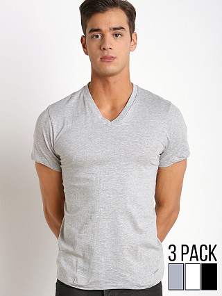 Model in grey heather/white/black Calvin Klein Cotton Classics V-Neck Shirt 3-Pack Grey/Wht/Black