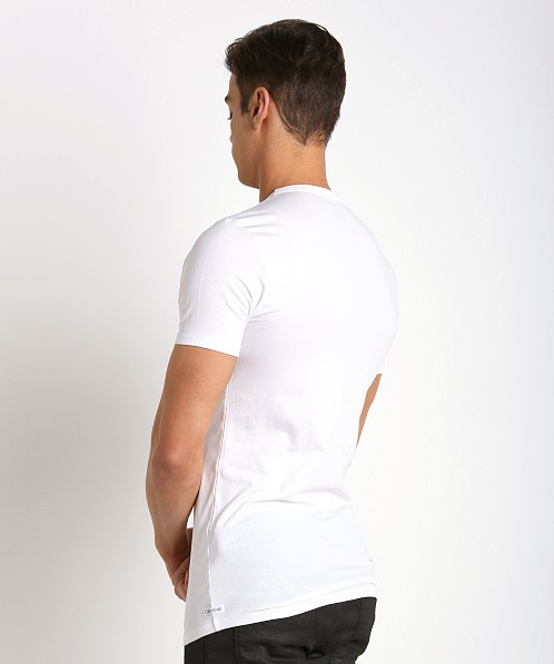 Calvin Klein Cotton Stretch V-Neck Shirt 2-Pack White