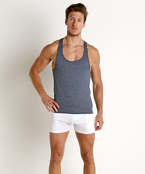LASC Performance Fast Back Tank Top Heather Navy
