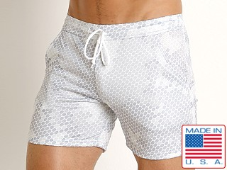 Model in white pac man LASC Printed Performance Short