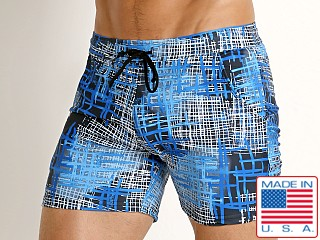 LASC Printed Performance Short Black-Royal