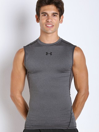 Model in carbon heather Under Armour Heatgear Sleeveless Compression Tee