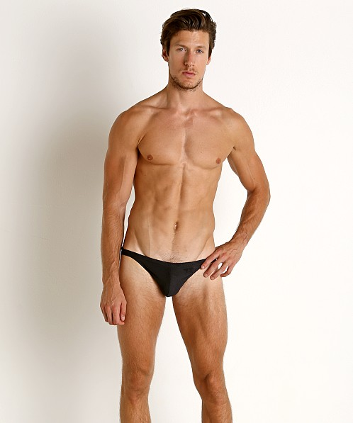 LASC Super Low Rise Mesh Swim Brief Black