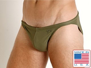 LASC Super Low Rise Mesh Swim Brief Olive