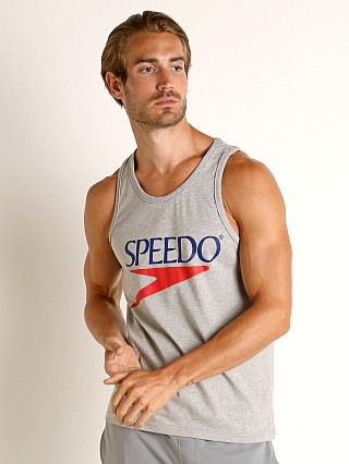 Model in heather Speedo Vintage Logo Tank Top