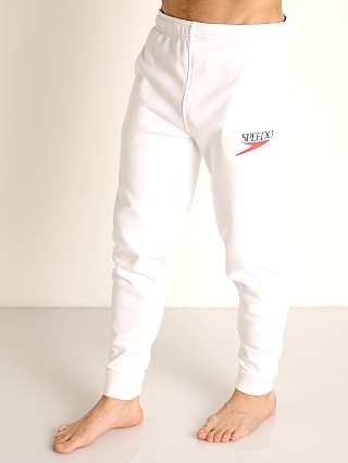 Model in white Speedo Vintage Logo Jogger Pant