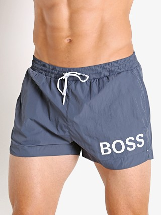 Model in charcoal Hugo Boss Mooneye Swim Shorts