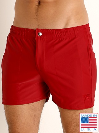 Model in burgundy LASC Malibu Swim Shorts