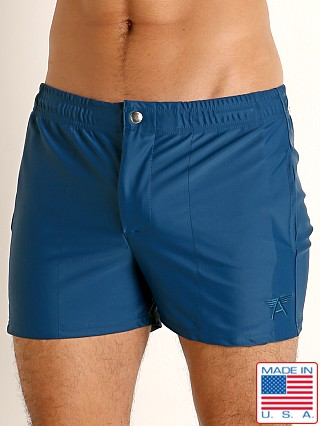 Model in teal LASC Malibu Swim Shorts