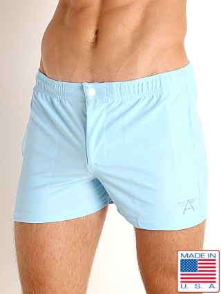 Model in baby blue LASC Malibu Swim Shorts
