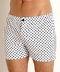 LASC Malibu Swim Shorts White/Black Polka Dots, view 3