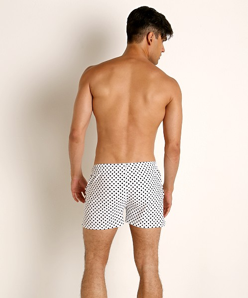 LASC Malibu Swim Shorts White/Black Polka Dots