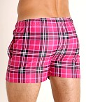 LASC Malibu Swim Shorts Hot Pink Plaid, view 4