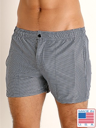 Model in black gingham checks LASC Malibu Swim Shorts