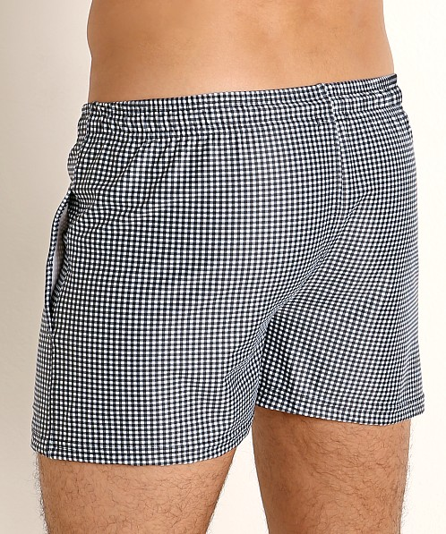 LASC Malibu Swim Shorts Black Gingham Checks