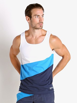 Model in white/blue Hugo Boss Fashion Tank Top