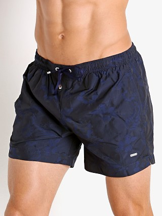 Model in navy Hugo Boss Shark Swim Shorts