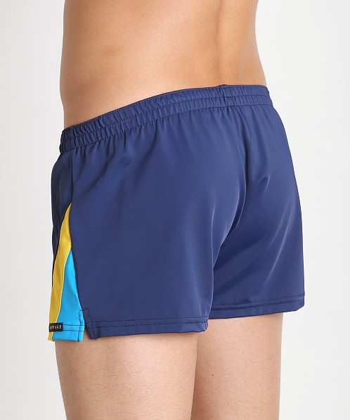 Sauvage European Nylon Lycra Color Block Swim Trunk Navy
