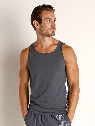 Model in charcoal Hugo Boss Beach Tank Top