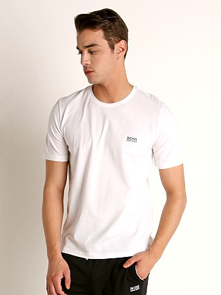 Model in white Hugo Boss Mix & Match T-Shirt