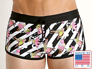 Model in pink hummingbirds LASC American Square Cut Swim Trunks