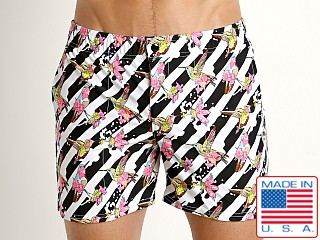 Model in pink hummingbirds LASC Laguna Swim Shorts