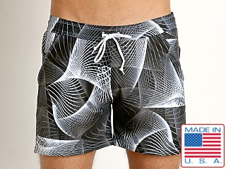 LASC Printed Performance Short Black/White Burst