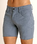 LASC Stretch Suede 5-Pocket Shorts Blue Steel, view 3