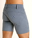 LASC Stretch Suede 5-Pocket Shorts Blue Steel, view 4