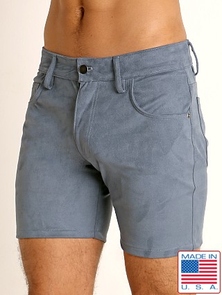 Model in blue steel LASC Stretch Suede 5-Pocket Shorts