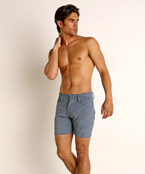 LASC Stretch Suede 5-Pocket Shorts Blue Steel