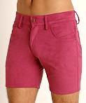 LASC Stretch Suede 5-Pocket Shorts Wild Orchid, view 3