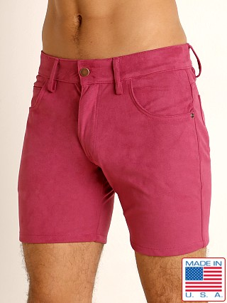 Model in wild orchid LASC Stretch Suede 5-Pocket Shorts