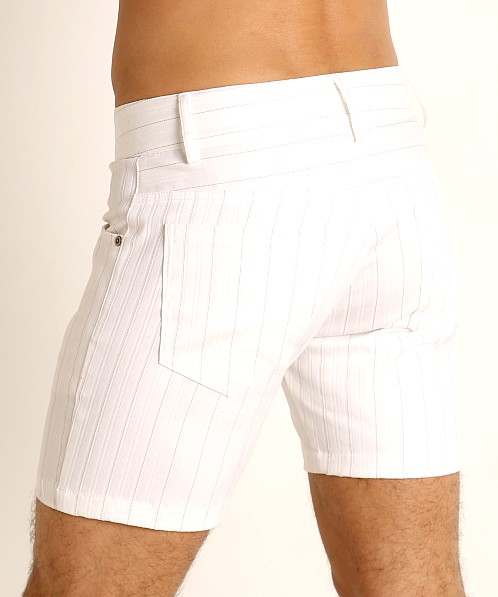 LASC Pinstriped Stretch Twill 5-Pocket Shorts White