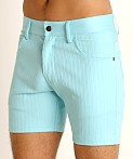 LASC Pinstriped Stretch Twill 5-Pocket Shorts Aqua, view 3