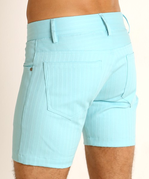 LASC Pinstriped Stretch Twill 5-Pocket Shorts Aqua