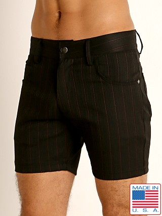Model in black LASC Pinstriped Stretch Twill 5-Pocket Shorts