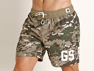 Model in khaki/army green G-Star Dirik Swim Shorts Khaki