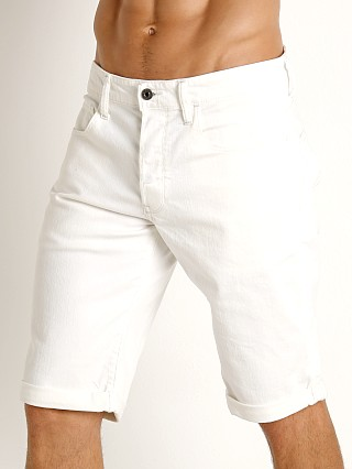 Model in rinsed G-Star 3301 Inza Stretch Denim Shorts