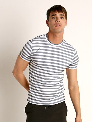 Complete the look: Sauvage Luxury Italian Knit Striped T-Shirt Heather/White