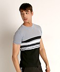 Sauvage Luxury Italian Knit Engineered Striped T-Shirt Charcoal, view 3